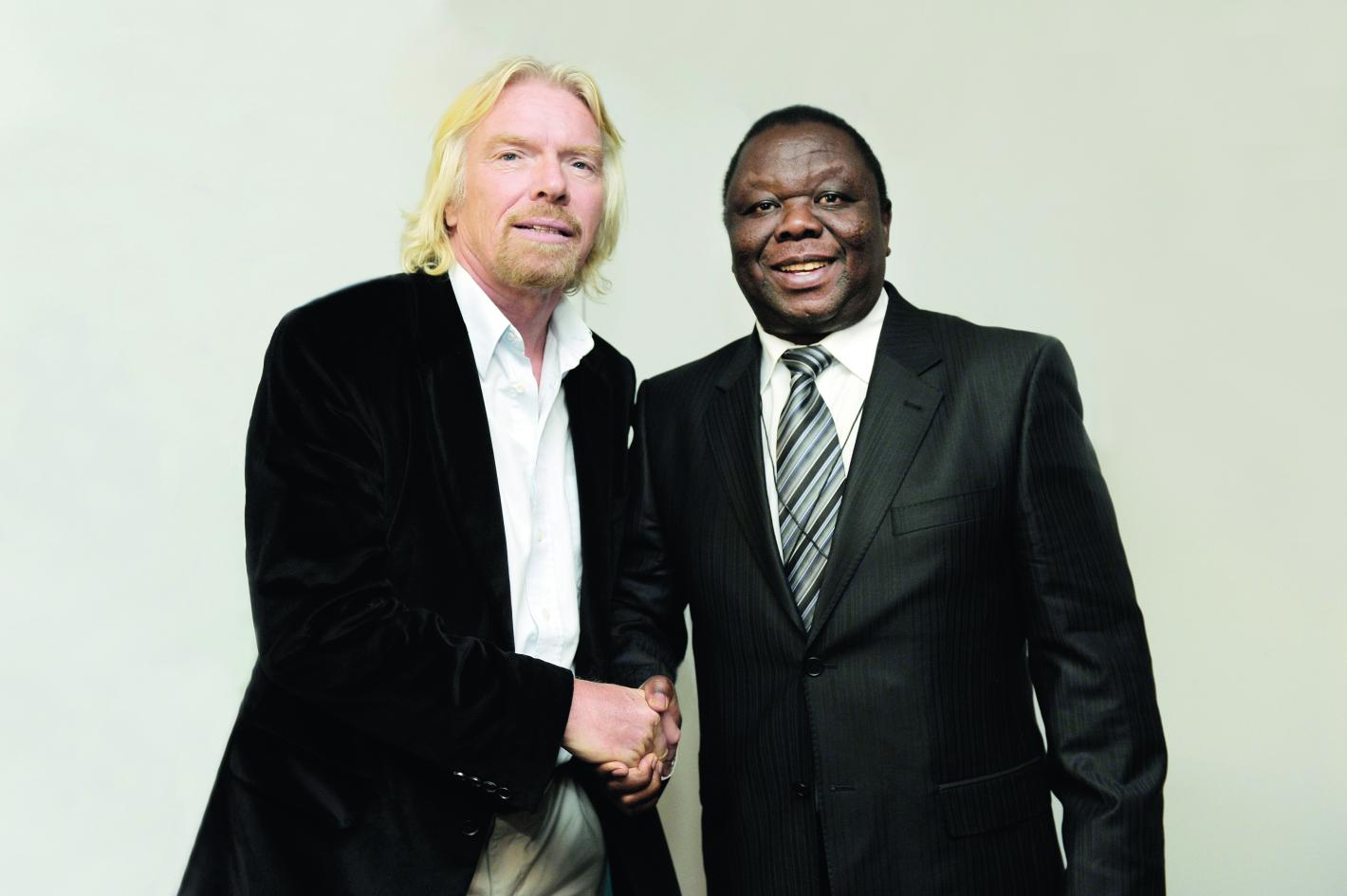 Richard Branson and Morgan Tsvangirai